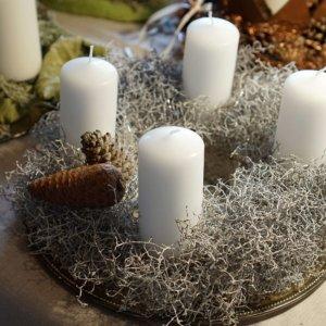 Adventskranz weiss-silber SILBERKNOSPE